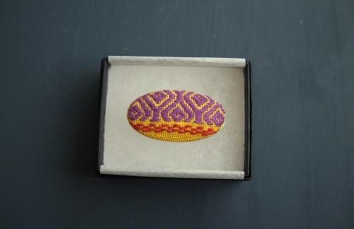 こぎん刺し 帯留め 黄×紫