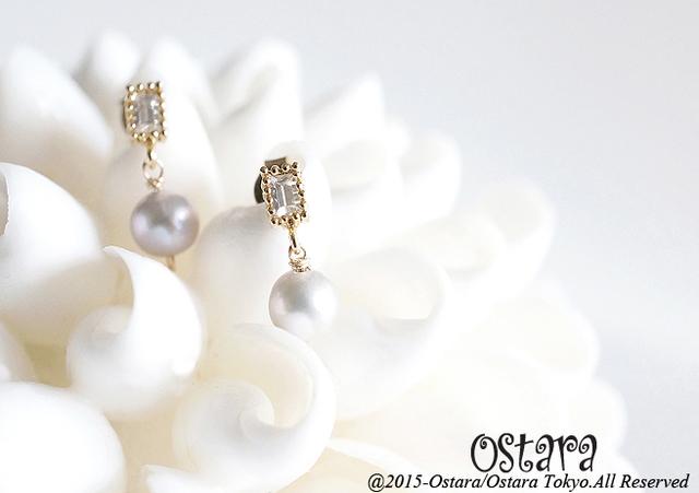 【16KGP】Rectangle CZ Stud Earrings,,AAA Silver Gray Pearl
