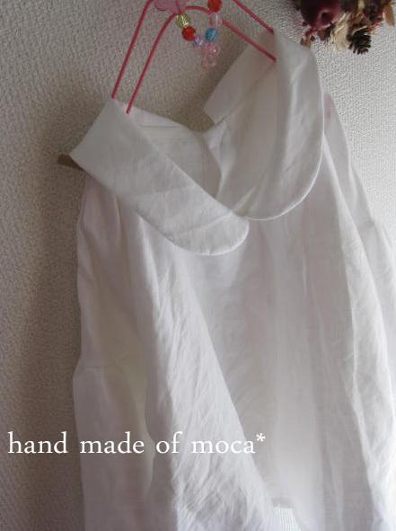 【受注製作/1.12再販売】リネン後ろボタン襟付きブラウスプルオーバー★オフホワイト