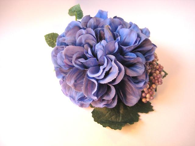 お花髪飾り(牡丹・青色)