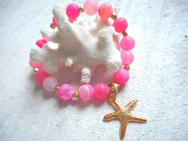Dragon Agate Ocean Bracelet with starfish--pink