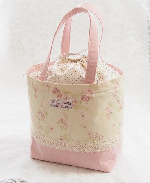 お弁当バッグにも!巾着付きトートバッグ・YUWA花柄×ピンク