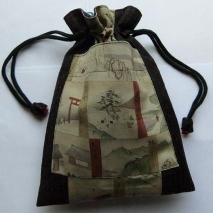 長襦袢と着物で作った巾着袋 077