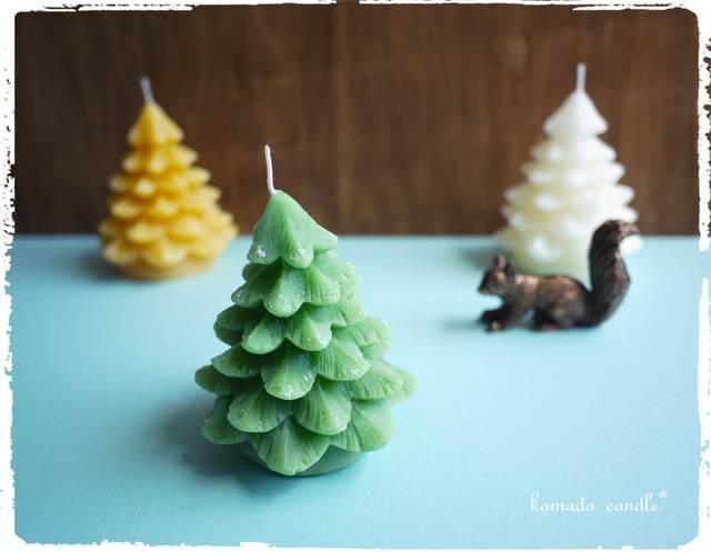 ミツロウのツリーキャンドル(ラメ) グリーン