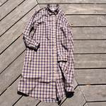 peruvian check shirt onepiece  ペルーヴィアンピマ播州織 シャツワンピース