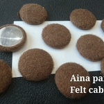 【4個】25㎜ brown felt cabochon