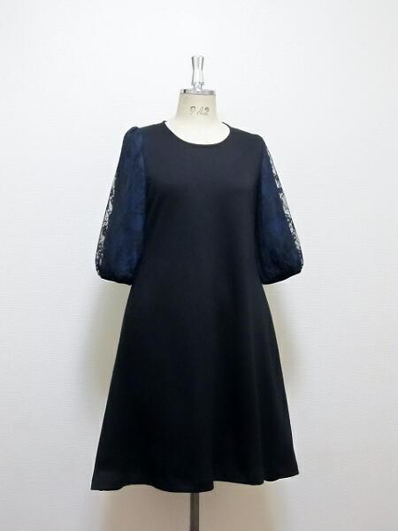 レース六分袖・Aラインドレス(ブラック×ネイビー)