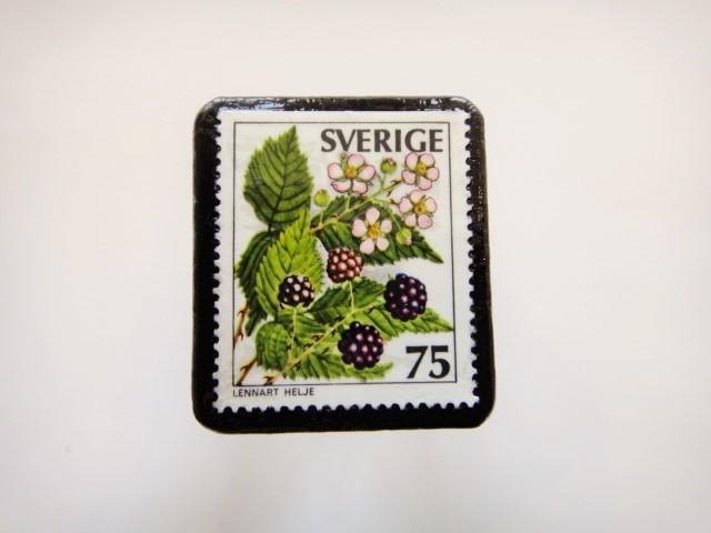 スウェーデン 木の実切手ブローチ903