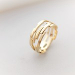 組み木ゴールドリング*KUMIKI solid silver ring(K18gold plating)