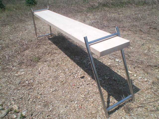 ステンレス製ガーデンベンチ