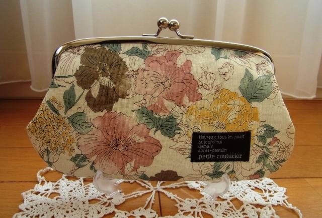 優しいお花柄の親子がま口長財布*ピンク