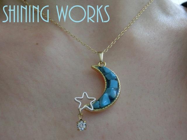 月と星のネックレス〜blue moon〜 ターコイズ