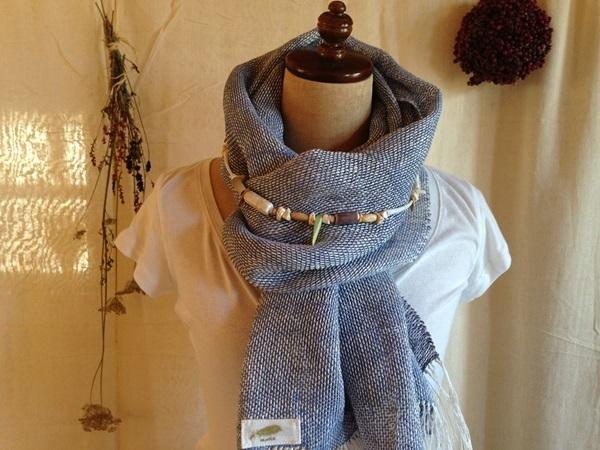 手織り ヘンプとリトアニアリネン ブルー