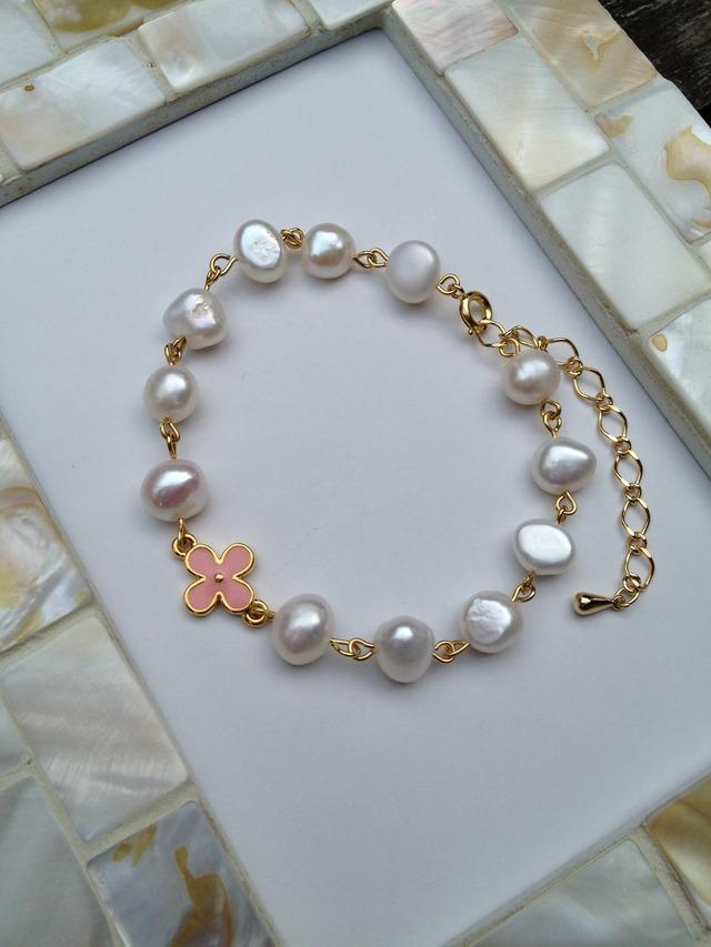 パールとお花のブレスレット(ピンク)
