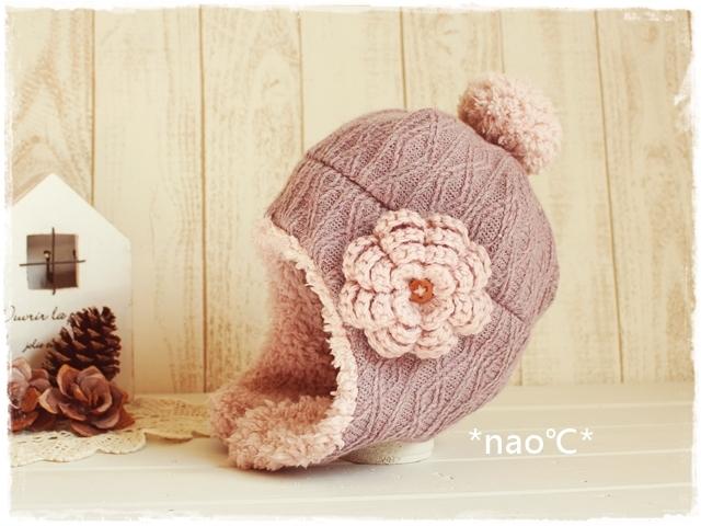 1b0378c2991543 耳あて付帽子♪大人/模様編みグレイッシュピンク/お花   ハンドメイドマーケット minne