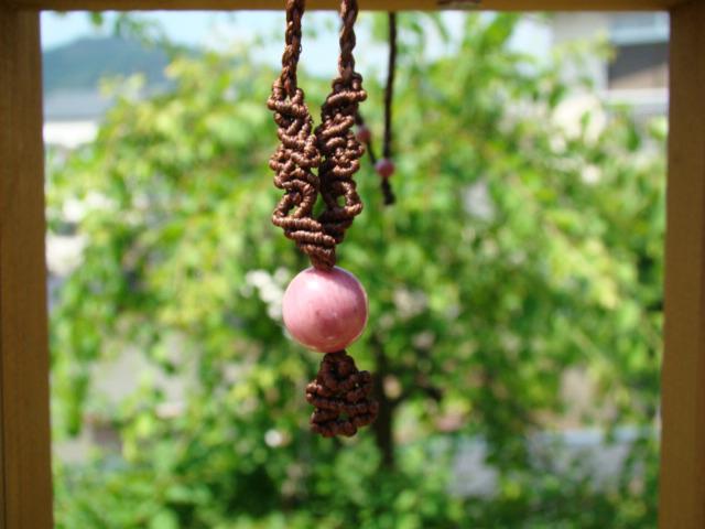 天然石ピーモンタイト マクラメ編みネックレス