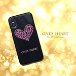 iPhone ケース カワイイ 「ONE'S HEART ピンク」iPhoneX / iPhone8 / iPhone7 / iPhone6 / iPhone6s  ブラック ハードケース