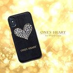 iPhone ケース カワイイ 「ONE'S HEART モノクロ 」iPhoneX / iPhone8 / iPhone7 / iPhone6 / iPhone6s  ブラック ハードケース
