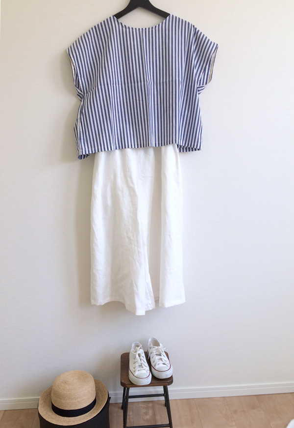 �����١�ladies�� �� French��blouse ��blue stripe����Free size