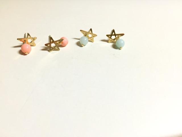 star☆白珊瑚(ピンク染め)ピアス