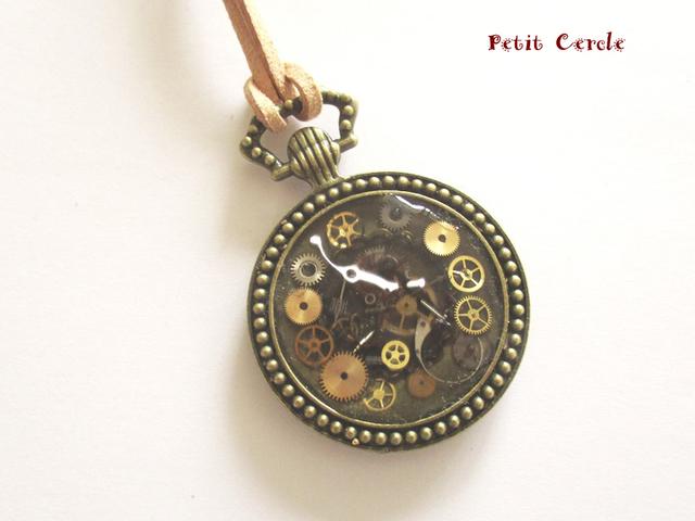 歯車いっぱい懐中時計型ペンダント