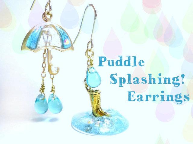 傘ピアスPuddle Splashing! Earrings  水たまりと傘と長靴と。なピアス