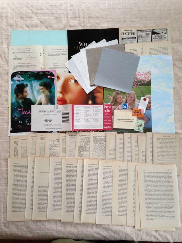 古書のページを中心に紙の詰め合わせ 12