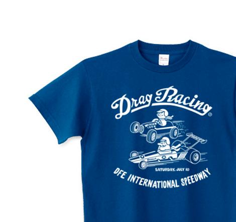 【再販】ドラッグ?レース☆1/4マイル☆アメリカンレトロ B柄 片面  150.160.(女性M.L) S〜XL Tシャツ【受注生産品】