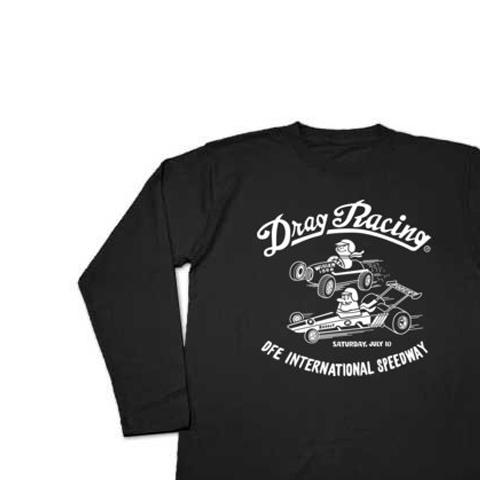 ドラッグ?レース☆1/4マイル☆アメリカンレトロ B柄 片面 長袖Tシャツ【受注生産品】