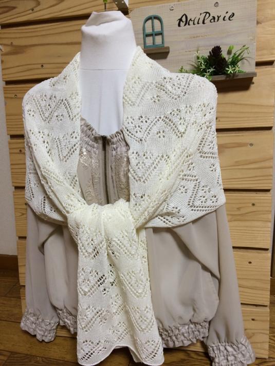 コットン 透かし編みストール オフホワイト