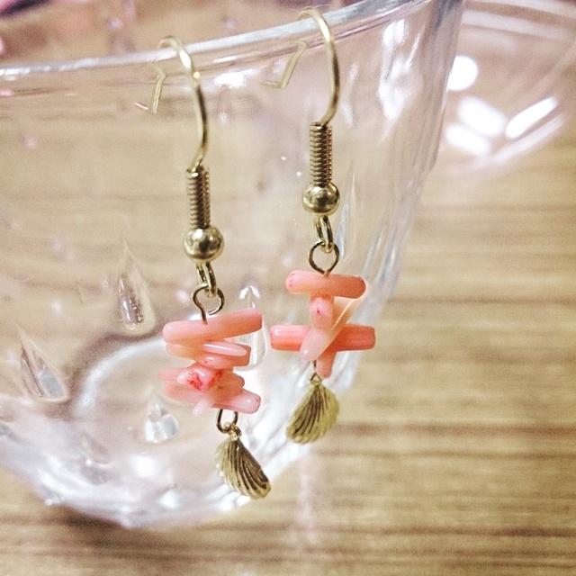 再再再販☆桃色珊瑚☆ピアス