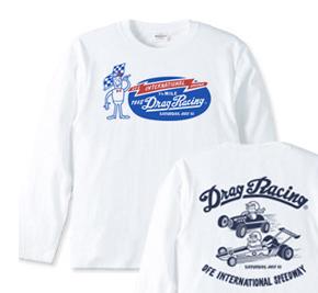 ドラッグ?レース☆1/4マイル☆アメリカンレトロ 両面 長袖Tシャツ【受注生産品】