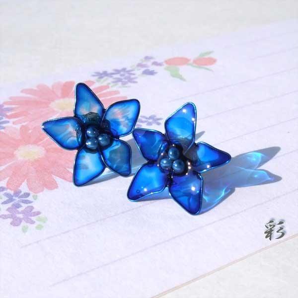 ピアス★ミニミニサイズのお花? Blue