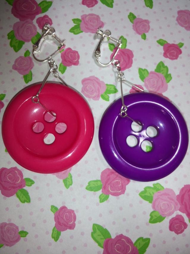 ★イヤリング★ボタン★ピンク★紫★シルバー★