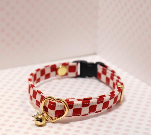 【猫用】市松の首輪(赤)