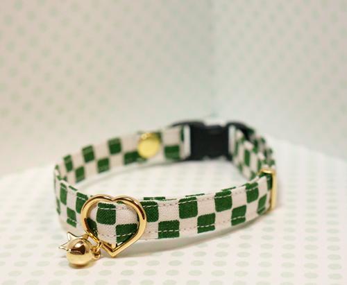 【猫用】市松の首輪(深緑)