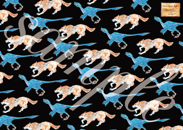 Wolf and Velociraptor - Wrapping paper