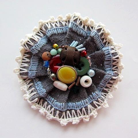 ボタンとビーズのブローチ BLPP-06