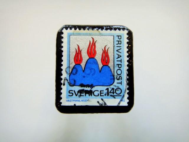 スウェーデン 紋章切手ブローチ925