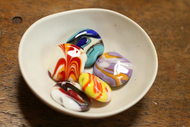 5個セット glass beads (とんぼ玉)ペッチャンコマーブル