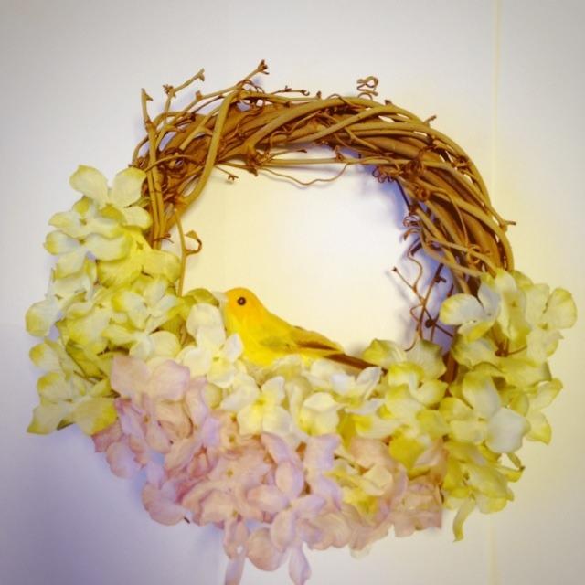 カラフル紫陽花リース