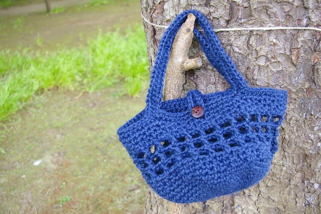 麻素材かぎ針編みおでかけバッグ【青】