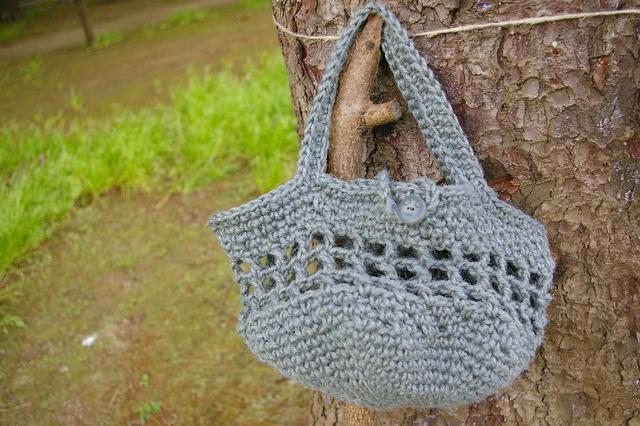 麻素材かぎ針編みおでかけバッグ【グレー】