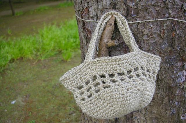 麻素材かぎ針編みおでかけバッグ【ナチュラルベージュ】