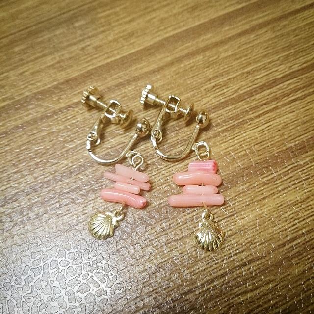 桃色珊瑚☆イヤリング