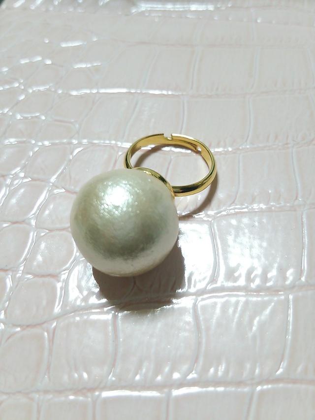 【送料込み】一粒コットンパールのリング