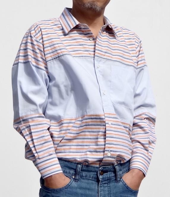 素敵な縞模様と無地のメンズシャツ送料無料