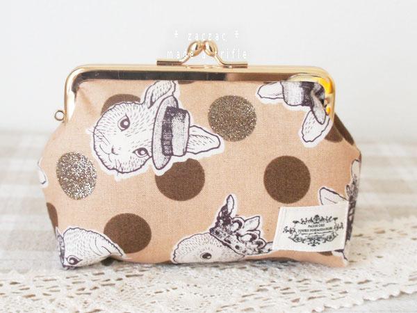 がま口ポーチ*ラメ水玉とウサギ&ネコ