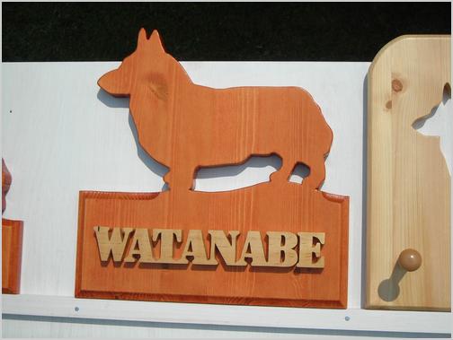 ウェルシュコーギー ペンプローグ 木製サインボード ローズ