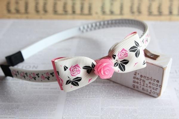 薔薇のカチューシャ「ピンク」送料無料